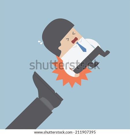 Businessman being kicked out, VECTOR, EPS10 - stock vector