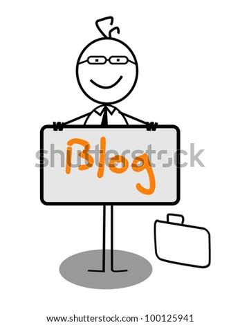 Businessman blog Banner - stock vector