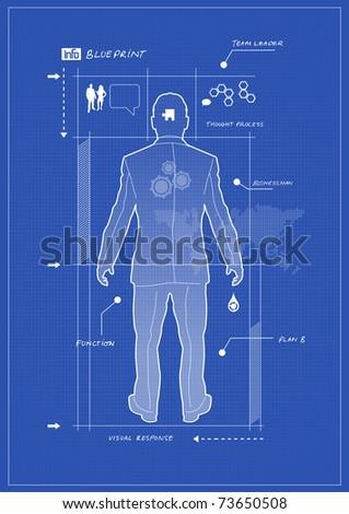 Businessman Blueprint - stock vector