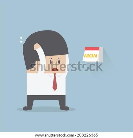 Businessman boring monday, VECTOR, EPS10 - stock vector