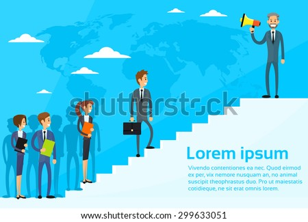 Businessman Boss Hold Megaphone Loudspeaker Colleagues Business People Team Group Walking Up Stairs Flat Vector Illustration