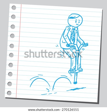 Businessman bouncing on pogo stick - stock vector