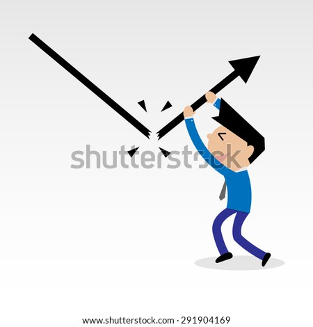 businessman break falling down graph line and push to increasing line crisis management concept- vector  - stock vector