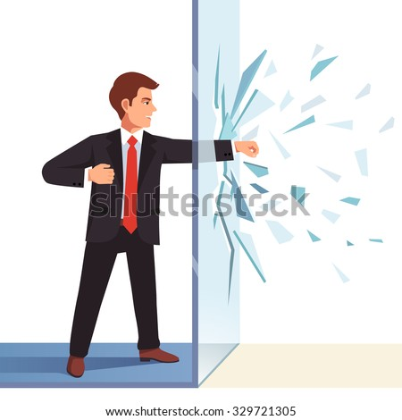 Businessman breaking through invisible glass wall. Flat style vector illustration isolated on white background. - stock vector