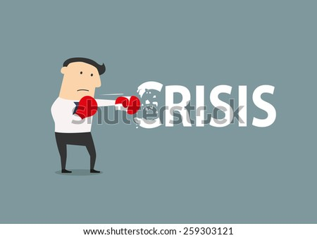 Businessman breaks the crisis with boxing gloves, flat conceptual style - stock vector