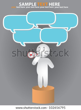 Businessman, bubbles and loudhailer,Vector - stock vector