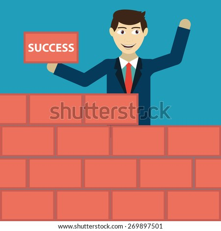Businessman building a brick wall of success  - stock vector