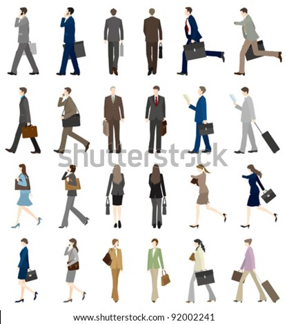 businessman?BusinessWoman / Walk - stock vector