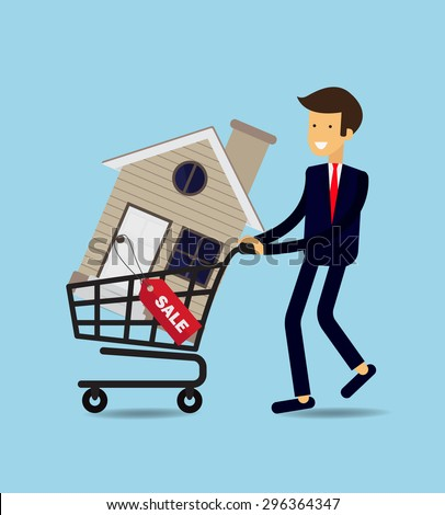 Charmant Businessman Buy House , Vector Illustration