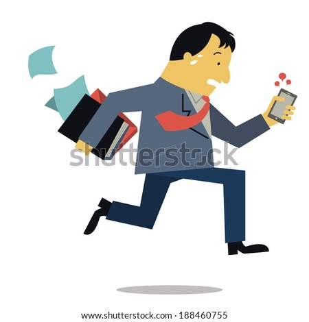 Businessman, can be representing to boss or manager, holding document file and smart phone running in a hurry. Business concept in very busy businesspeople.  - stock vector