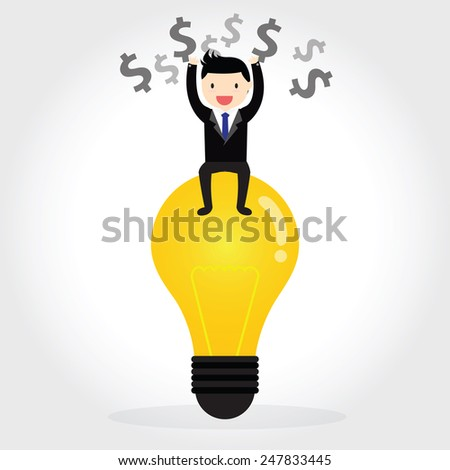 Businessman can get good idea to do something success and  thinking about money - stock vector