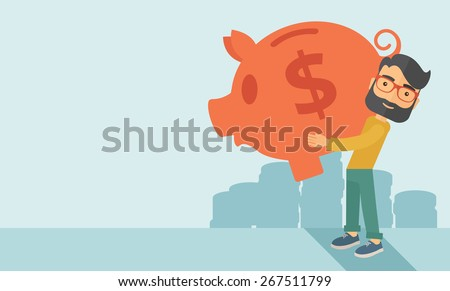 Businessman carries on his two arms his big piggy bank for economy purposes saving money is very important. A contemporary style with pastel palette soft blue tinted background. Vector flat design - stock vector