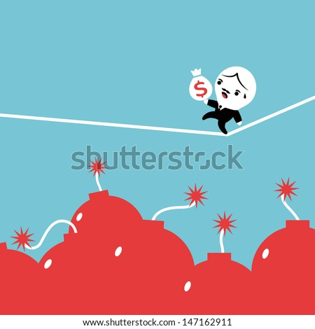 Businessman carry money bag walking on tightrope, Equilibrist - stock vector