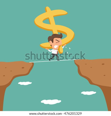 Businessman carrying arrow up sign walking cross the cliff, vector illustration cartoon