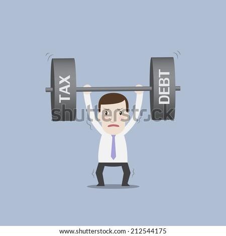 Businessman carrying heavy tax & debt - stock vector