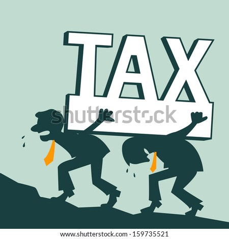 Businessman carrying heavy tax during on the way up to the hill, representing to businesspeople generally have heavy tax burden on their shoulders. Abstract background on business tax burden.  - stock vector