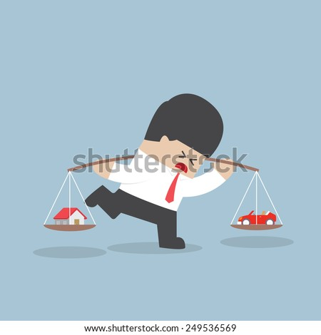 Businessman carrying house and car on his shoulder, Financial concept, VECTOR, EPS10 - stock vector