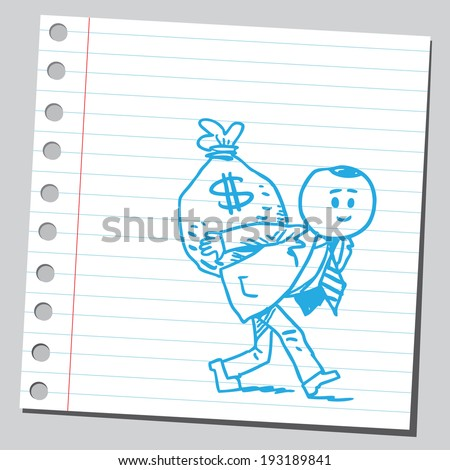 Businessman carrying money bag - stock vector