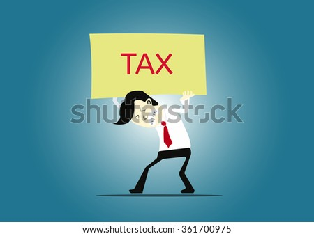 businessman carrying text labels TAX  - stock vector