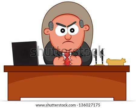 Businessman. Cartoon boss man angry and sitting at desk. - stock vector