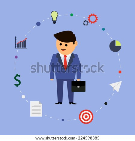 Businessman cartoon character and business management icons. Vector illustration, EPS 8. - stock vector