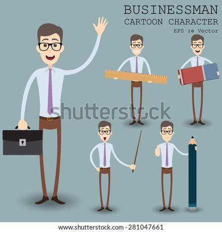 Businessman cartoon character eps 10 vector illustration - stock vector