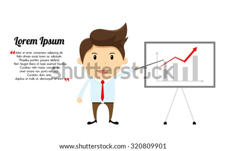 Businessman cartoon character with white bord presentation - stock vector