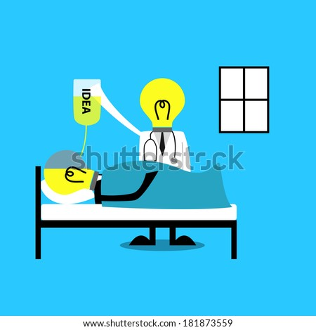 businessman cartoon get Idea Refill from doctor - stock vector