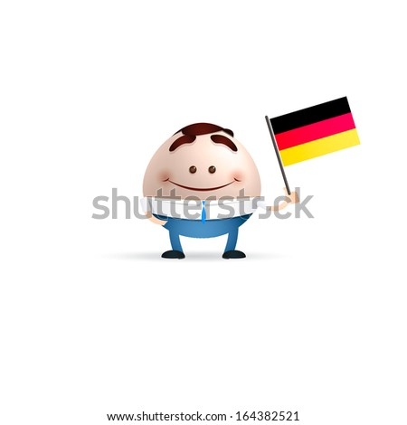 businessman cartoon  holding a country flag. germany concept