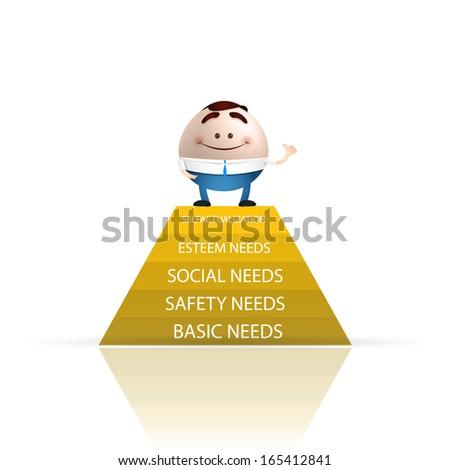 businessman cartoon piramide de las necesidades - stock vector