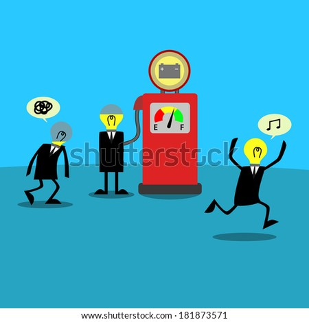 businessman cartoon Recharge their energy from station - stock vector
