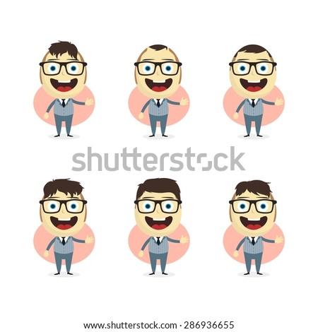 businessman cartoon set - stock vector