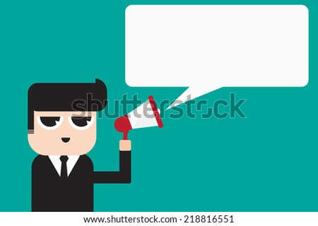 Businessman cartoon with megaphone announcement quote speech. - stock vector