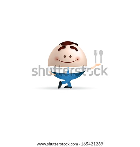 businessman cartoon with spoon and fork - stock vector