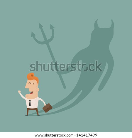Businessman casting a devil shadow , eps10 vector format - stock vector