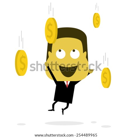 Businessman Catching Coin - stock vector