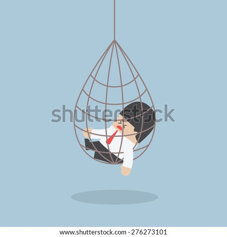 Businessman caught in a net trap, VECTOR, EPS10 - stock vector