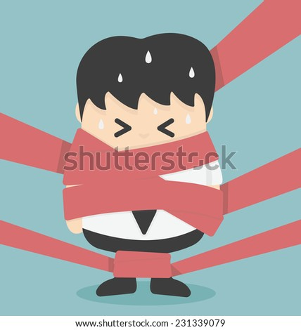 Businessman caught in Red Tape - stock vector