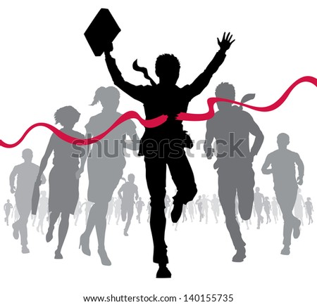 Businessman celebrates at the finish line  - stock vector