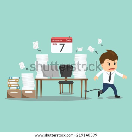 Businessman chained to the office desk on sunday vector illustration  - stock vector