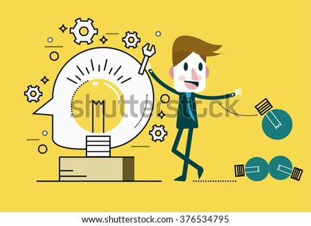 Businessman Change light bulb. Ideas Concept. flat thin line design elements. vector illustration - stock vector