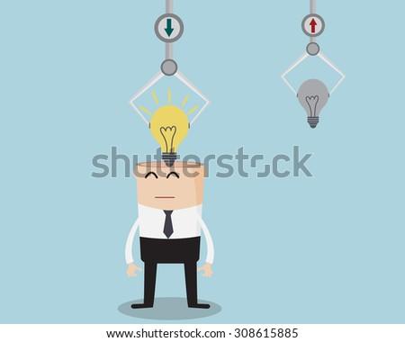 Businessman Changing Bulb Idea Cartoon Vector Illustration - stock vector