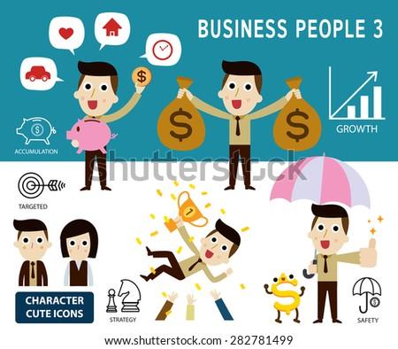 businessman character cartoon design.Set of finance concept. vector illustration. - stock vector