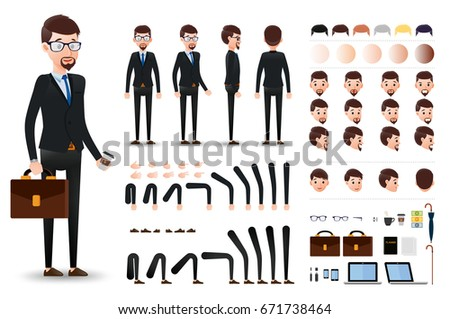 Businessman Character Creation Kit Template Different Stock Vector ...