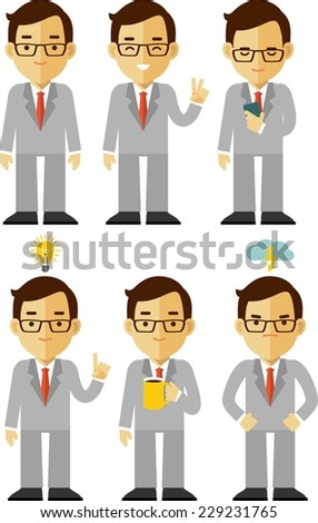 Businessman character flat set in different poses - stock vector