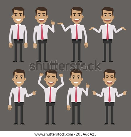 Businessman character in different poses - stock vector