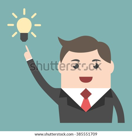 Businessman character in moment of insight with great creative idea. Business success, creativity, insight, inspiration, innovation concept. EPS 8 vector illustration, no transparency - stock vector