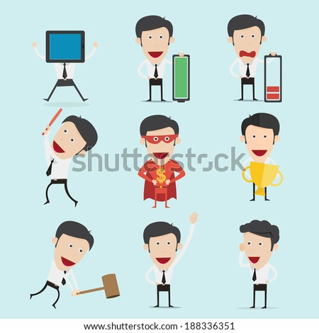 Businessman character set  - stock vector