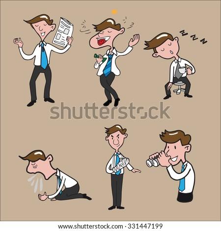 Businessman character set cartoon drawing - stock vector