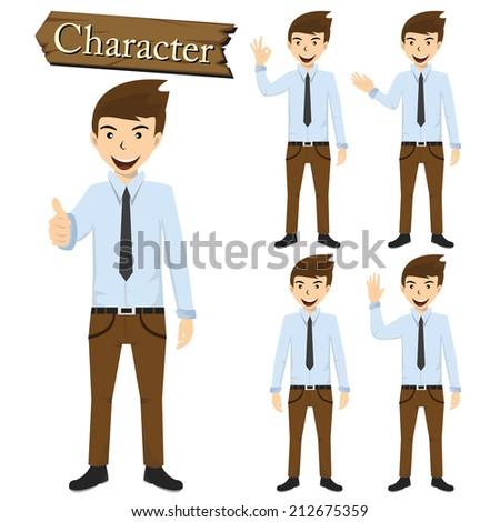 Businessman character set vector - stock vector